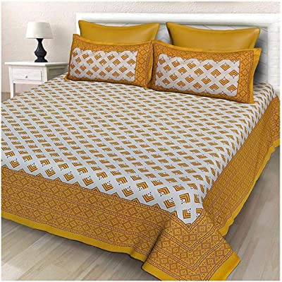 Pareek Jaipuri Print Homes Fashion 100% Cotton Super King Size Double Bedsheet (90 x 108 Inches) with 2 Pillow Covers (18 x 28 Inches (Yellow) | 110
