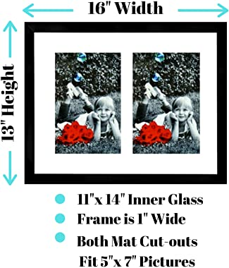 Tasse Verre 11x14 Collage Picture Frame - Double 5x7 Mat (2-Pack) - with HIGH Definition Glass Front Cover - Frames Display Two 5x7 Pictures with Mat - Horizontal or Vertical Twin Dual Photos