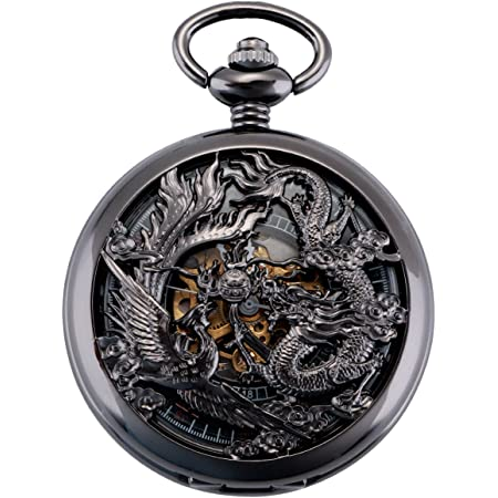ManChDa Antiguo Negro Hunter Números Romanos Dragon y Phoenix/Reno Patrón Hueco Mecánico Reloj de Bolsillo + Caja de Regalo