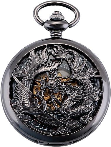 ManChDa Antique Mécanique Montre de Poche Chanceux Dragon & Phoenix voeux Cadran Squelette avec chaîne pour Les Homme...