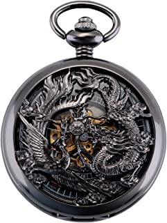 ManChDa Mens Antique Mechanical Pocket Watch Lucky Dragon & Phoenix Retro Skeleton Dial with Chain + Gift Box
