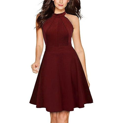 849523a53852 Berydress Women s Sleeveless Halter Neck A-Line Casual Party Dress