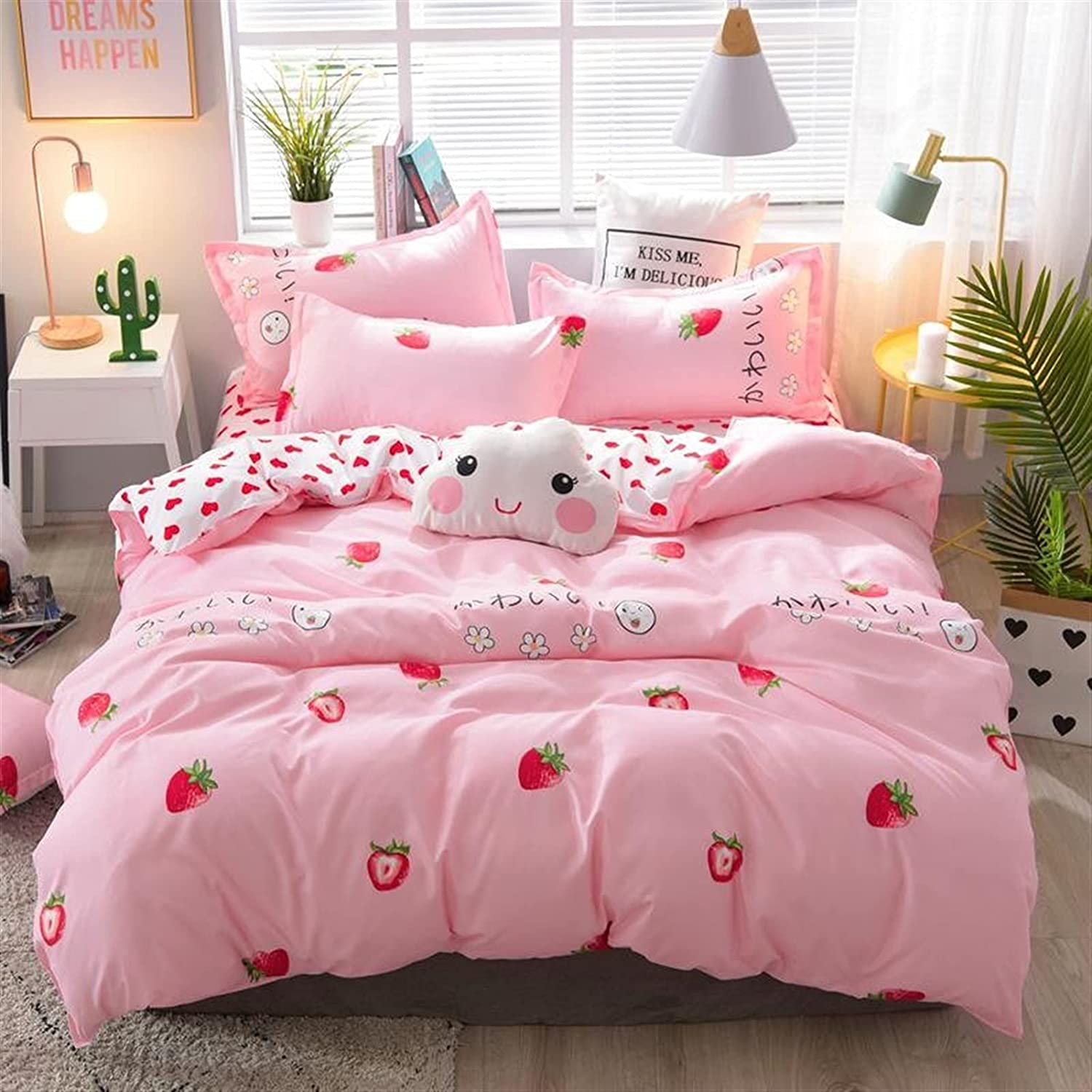 Max 65% OFF Discount mail order LUBINGT Quilt Pink Strawberry Cute Bedding B Queen Set Size King