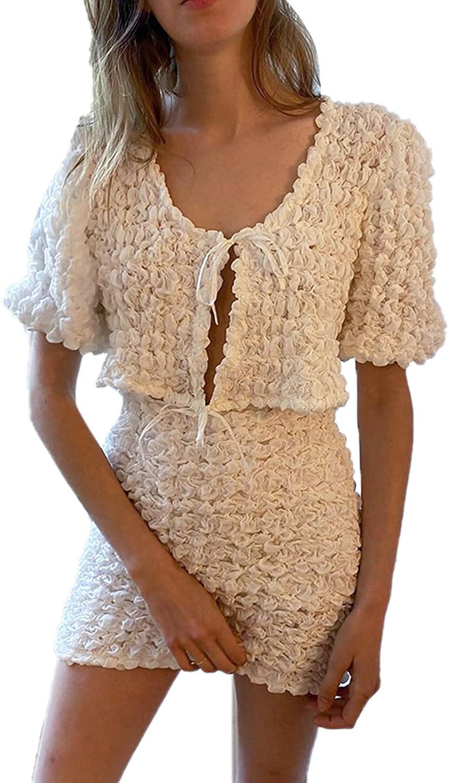 Women Casual 2 Piece Outfits Set Short Sleeve Open Front Tops Bodycon Mini Dresses Set Suit Streetwear