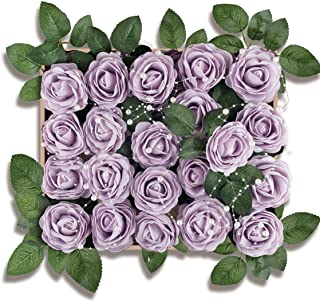Meiliy 40pcs Artificial Flowers Peony Lilac Rose Heads Real Looking Foam Peonies Bulk w/Stem for DIY Wedding Bouquets Boutonnieres Corsages Centerpieces Wreath Supplies Cake Flower Decorations …