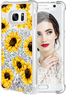 Galaxy S7 Edge Case, Caka Galaxy S7 Edge Floral Glitter Case Flower Pattern Series Luxury Fashion Bling Flowing Liquid Floating Sparkle Girly Soft TPU Case for Samsung Galaxy S7 Edge (Sunflower)