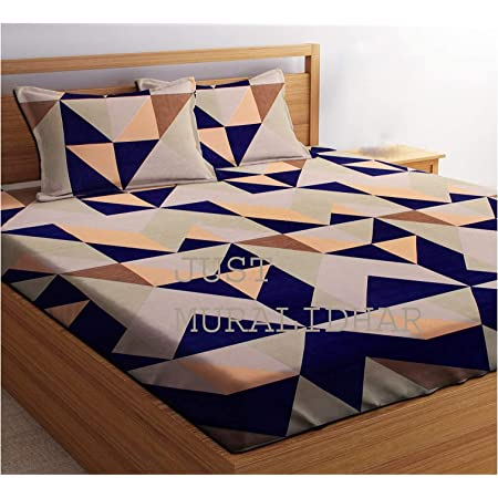 Just Muralidhar & Sons Polly Cotton Double Bedsheet with 2 Pillow Covers for Bed Room, Home, Hotel, (Multi color 33)