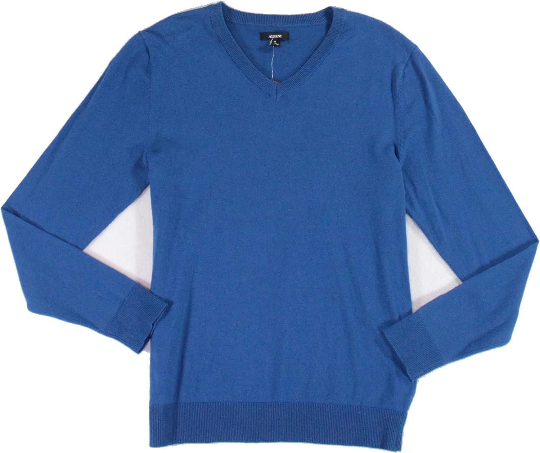 Alfani Mens Sweater Acapulco Medium M Blue Pullover Super sale Max 51% OFF V-Neck Solid