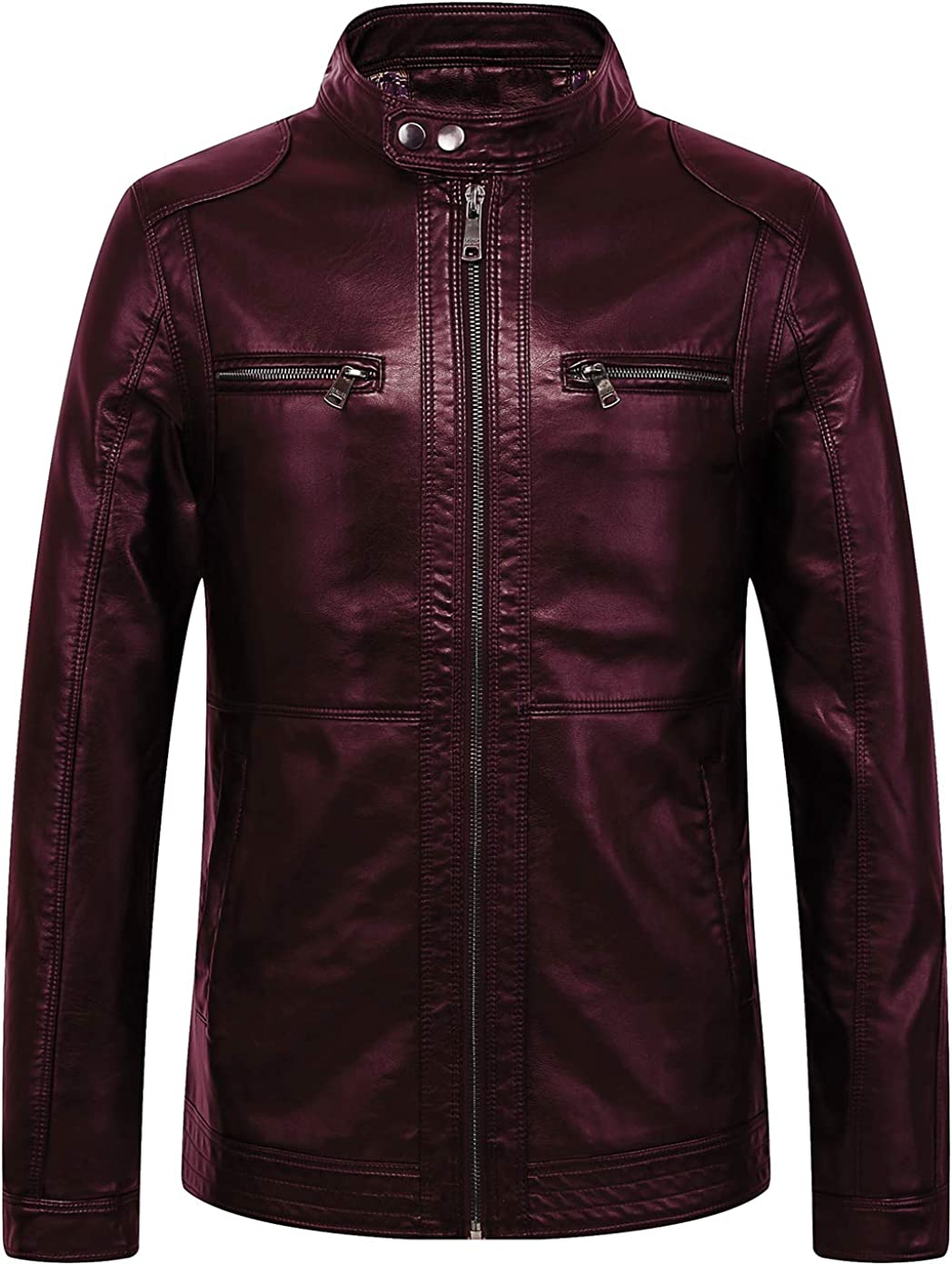 chouyatou Men's Vintage Rugged Motorcycle Leather Spring Sales of SALE items from new works new work Faux Zip-Front