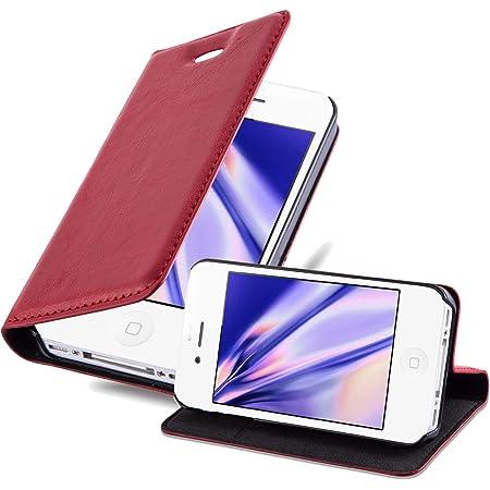 Cadorabo Custodia Libro per Apple iPhone 4 / iPhone 4S in Rosso Mela - con Vani di Carte, Funzione Stand e Chiusura Magnetica - Portafoglio Cover Case ...