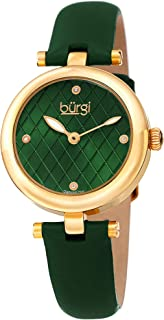 Women's BUR196 Diamond Accented Argyle Dial Watch - Comfortable Leather Strap - in a Gift Box