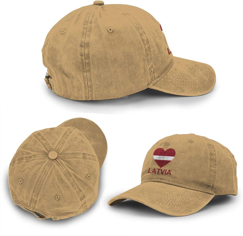 Love Latvia Adult Curved Brim Baseball Hat Sports Cowboy Cap