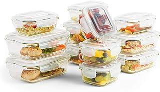 VonShef Lot de 12 Boîtes de Conservation Alimentaires avec Couvercles en Verre