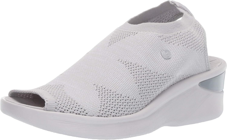 BZees Women's Secret Wedge Sandal, Light Grey, 9.5