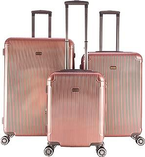 Genova 3 Piece Expandable Hardside Spinner Luggage Set (Rose Gold)