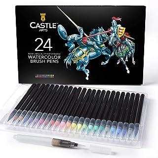 Castle Art fournit 24 stylos à aquarelle avec une pointe de pinceau en nylon souple pour le coloriage, la calligraphie, le...