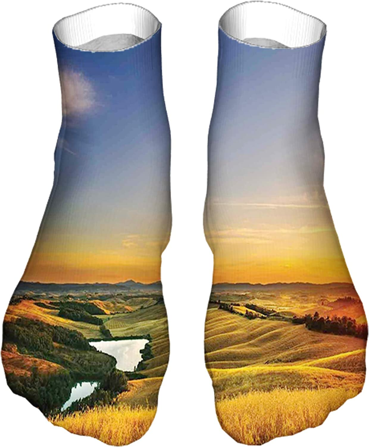 Men's and Women's Fun Socks Printed Cool Novelty Funny Socks,Magical Photo of Mediterranean Rural in The Valley