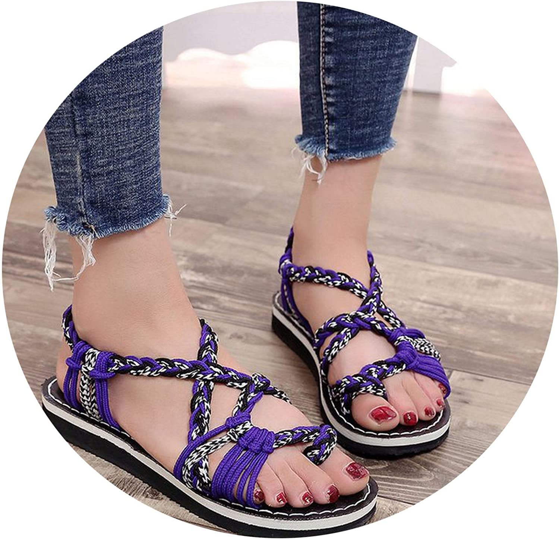 Large Size Flat Soled Women Sandals Summer Peep Toe Flat shoes,Purple White,10
