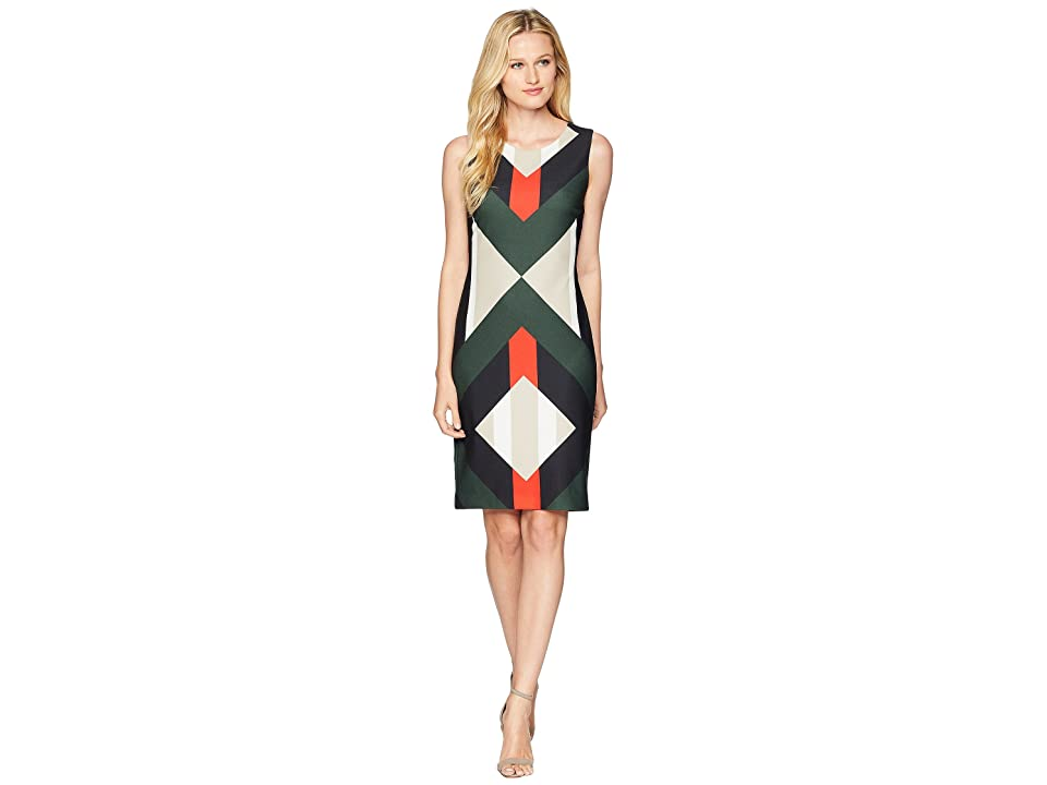 Calvin Klein Printed Scuba Sheath Dress (Tango Combo) Women
