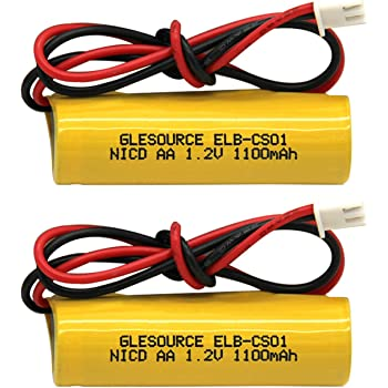GLESOURCE(2 Pack)1.2V 1100mAh Exit Sign Emergency Light NiCad Battery, Replacement Battery for Unitech AA900mAh OSA268 ELB CS01, Lithonia EXR LED EL M6 White Connector