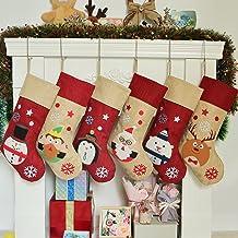 K-MLICE Burlap Christmas Stockings Set of 6, Large Family Christmas Stocking for Rustic/Farmhouse Home Décor, Xmas Ornamen...