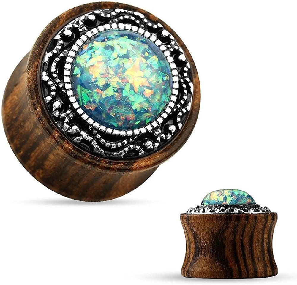 Covet Jewelry Tribal Pattern Casting Imitation Opal Center Organic Wood Saddle Plug