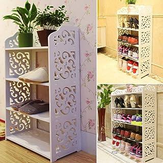 Chic estantería zapatero (Composite madera plástico ajouré mueble estantería de almacenamiento para cocina cuarto de baño cámara, 4 Etages