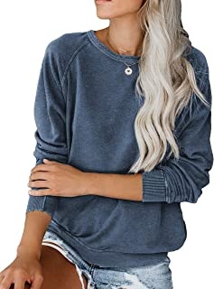 Allimy Women Long Sleeve Stitched Detail Tops Shirts Loose Crew Neck Sweatshirt Pullover S-2X