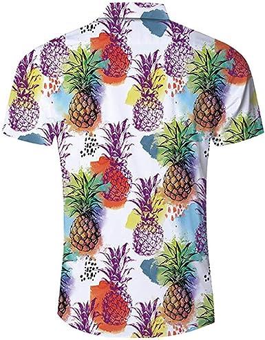ACEBABY Camisa Hawaiana Hombre Impresión de Piña de Frutas ...