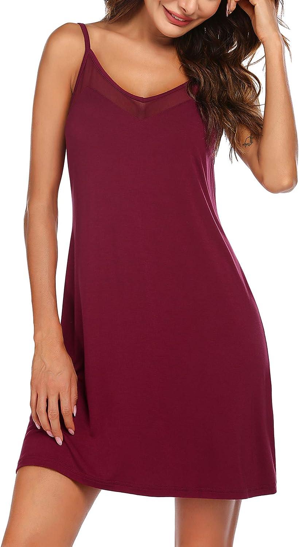 Ekouaer Nightgown Sexy Sleeveless Nighty for Women Sleepwear Comfy Slip Chemise Babydoll Lingerie Lace Lounge Dress