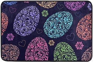 Not Slip Doormats Rugs Abstract Carving Flowers Easter Egg Soft Foam Printing for Living Room Kids Bedroom Bathroom Door M...