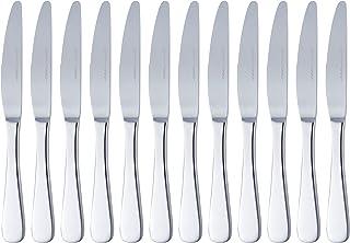 Amazon Basics Service de 12 couteaux de table en acier inoxydable avec bord arrondi