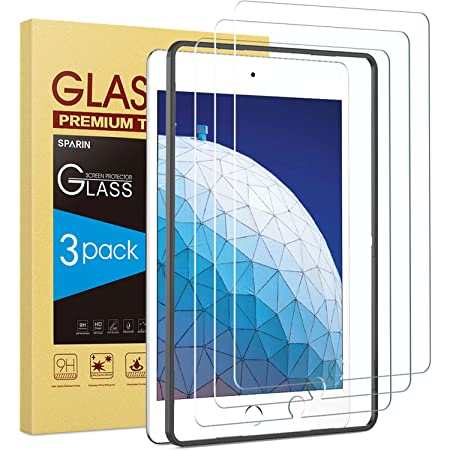 3 Pack SPARIN Tempered Glass Screen Protector Compatible with iPad Air 3 2019/iPad Pro 10.5 Inch, Compatible with Apple Pencil