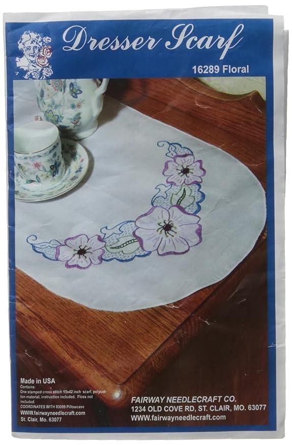Fairway 16289 Dresser Scarf, Floral Motif Design, White, Perle Edge susexheajptrd193