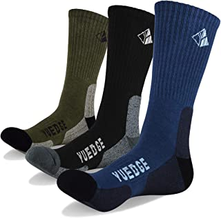 YUEDGE Men's Wicking Cushion Athletic Crew Socks Outdoor Multi Performance Hiking Socks(3 Pairs)