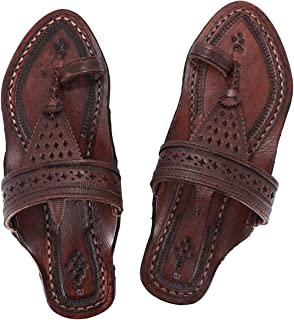 KALAPURI Womens Comfortable Cusioned Kolhapuri Chappal in Genuine Leather with Reddish Brown Pointed Shape Base and Tradit...