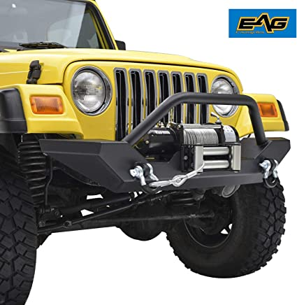 EAG Front Bumper with 2x D-ring & Winch Plate for 97-06 Jeep
