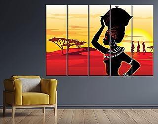 Meteor Gallery Toile ethnique africaine, art rétro africain, art mural de femme africaine, peinture africaine, décoration ...