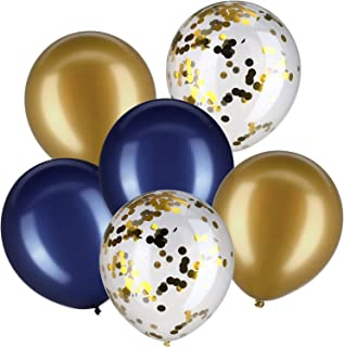 Jovitec 30 Pieces 12 Inches Latex Balloons Confetti Balloons for Wedding Birthday Party Decoration (Navy Blue and Metallic Gold)