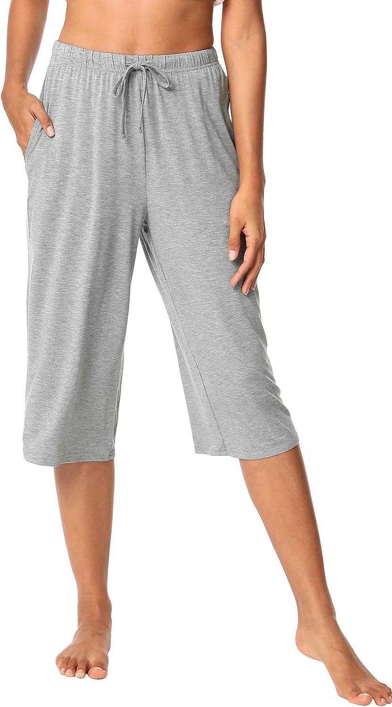 WiWi Womens Bamboo Comfy Capri Pants Lounge Knit Capris with Pockets Wide Leg Pajama Bottoms Drawstring Sleep Pant S-XXL