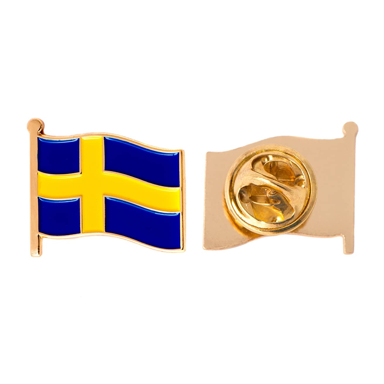 Sweden Country Flag Lapel Pin Enamel Made of Metal Souvenir Hat Men Women Patriotic Swedish (Waving Flag Lapel Pin)