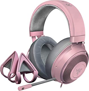 Razer Kraken Gaming Headset + Kitty Ears Bundle: Lightweight Aluminum Frame - Retractable Noise Cancelling Mic - for PC, Xbox, PS4, Nintendo Switch - Quartz Pink