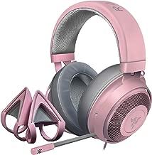 Razer Kraken Gaming Headset + Kitty Ears Bundle: Lightweight Aluminum Frame - Retractable Noise Cancelling Mic - for PC, Xbox, PS4, Nintendo Switch - Quartz Pink