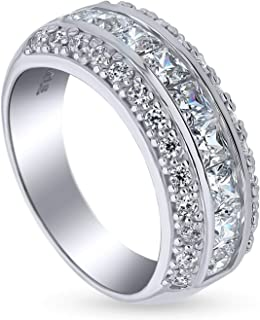 BERRICLE Rhodium Plated Sterling Silver Channel Set Cubic Zirconia CZ Statement Anniversary Wedding Half Eternity Band Ring