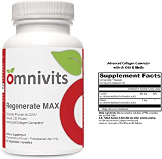 Omnivits Regenerate MAX | Advanced Collagen Generator with Choline, Biotin | Supports Beauty, Hair, Nails, Bone Flexibility, Healthy Joints | Anti-Aging |60 Vegetable Capsules