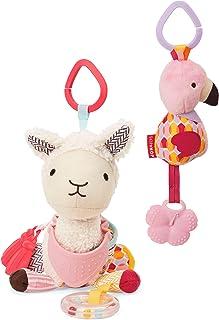 Skip Hop Bandana Buddies Baby Activity & Teething Toy Set with Multi-Sensory Rattle & Textures, Llama Flamingo, Multi