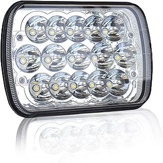 DOT Rectangular 5X7 7X6 Inch Led Hi/Lo Headlight Sealed Beam Replace For H6054 H5054 Headlamps Jeep Wrangler Cherokee Xj Yj Toyota Tacoma Suzuki Katana Kawasaki Chevy S10 Blazer Express Van Ford