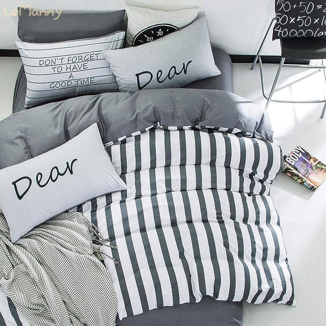 松の木予定同様にコットン100% ベッドカバー 寝具カバー 4点セット 3点 ボックスシート 掛けふとんカバー 布団 敷ふとんカバー ピローケース 枕カバー 綿 ストライプ グレー調 灰色 ネイビー シンプル 北欧 キングサイズ クイーン ダブル