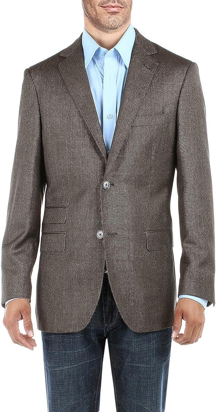 DTI BB Signature Men's Dress Suit Jacket Two Button Birdseye Modern Fit Blazer