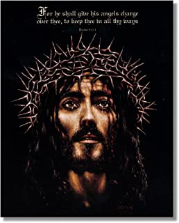 Jesus Christ Crown of Thorns Psalm 91:11 Religious Wall Picture 8x10 Art Print